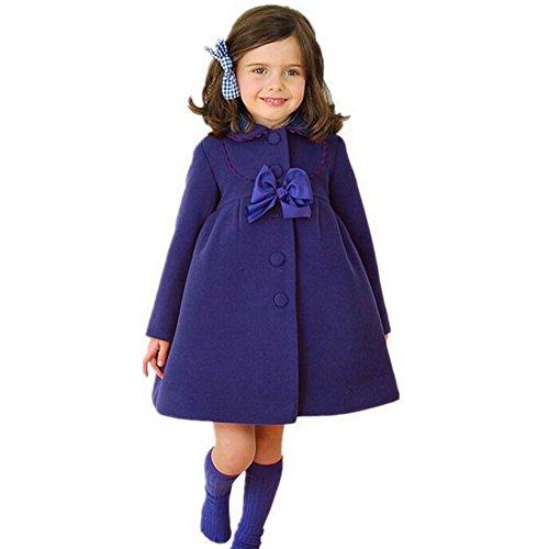 Highdas Niñas Bowknot Windbreaker Otoño Invierno Vestido Vestido Azul / 110