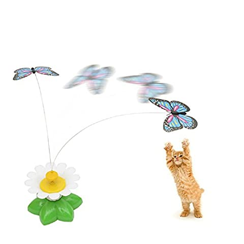 Funny Whirling Wiggler Spinner Interactive Cat Butterfly Rod Pet Toy