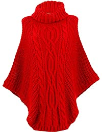 2f2333e56e9b Charleselie94® - Poncho Pull Laine Grande Taille Hiver bohème Rouge ELODY  Rouge