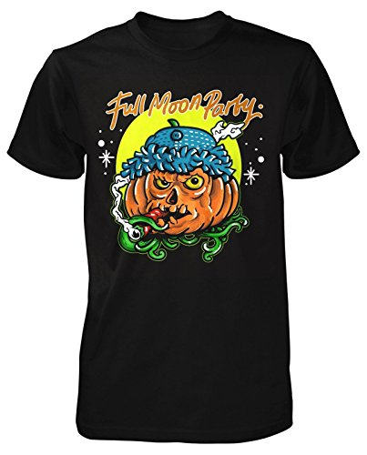 Smoking Pumpkin T-Shirt Full Moon Party Kürbis Halloween Horror Herbst Kult Mond