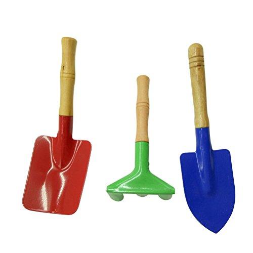 OUNONA Pala de rastrillo paleta para niños Herramientas de jardín de metal con mango de madera resistente Herramientas de jardinería seguro Niños 3 piezas