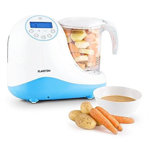 Klarstein Junior Chef Linus Préparateur culinaire pour bébés (5-en-1 pour plats, mixeur avec fonction cuiseur vapeur et stérilisation de biberons, réchauffage et décongélation) - bleu