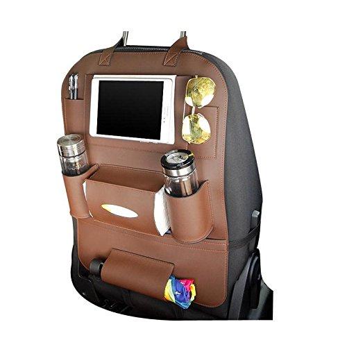 Preisvergleich Produktbild KOBWA Auto-Rückenlehnenschutz+ IPad/Tablet Fach, PU-Leder Organizer Rücksitztasche Kick-Matten-Schutz für Telefon / Tissue-Box / Umbrella / Kinder-Spielzeug / Flaschen (Braun)