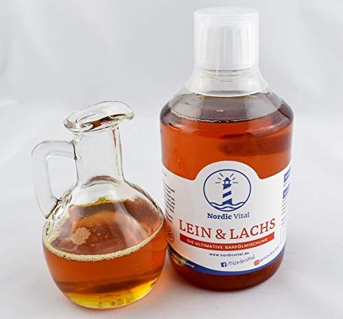 NordicVital Leinöl&Lachsöl Mischung 0,5 L, Omega 3, 6 u. 9 Öl,Für,Hunde,Katzen,Barfen,Barföl,