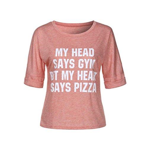 Donne Della Manadlian Maglietta Lettera Corta Stampata Tuniche Rosa Camicia Cime Manica Camicetta O collo Femminili d4Eq0xnw
