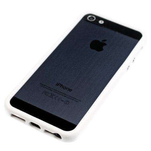 kwmobile TPU Silikon Bumper Hülle für Apple iPhone SE / 5 / 5S - Protection Rahmen Schutzhülle mit Aluknöpfen in Grün .Weiß