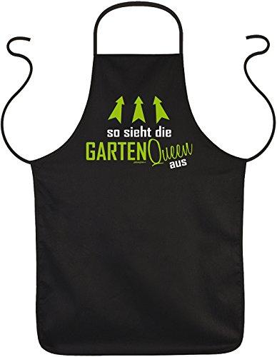 Gartenschürze Garten Schürze So sieht die GARTEN QUEEN aus Hobbygärtner Damen Gartenkleidung Gärtnerschürze Gartler Gartenarbeit Sprüche Geschenkidee Latzschürze schwarz : )
