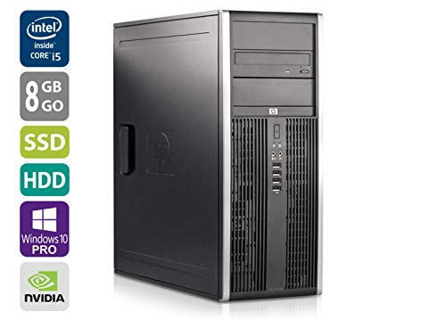 PC Gamer Multimédia Unité Centrale HP Elite 8200CMT - Nvidia Geforce GTX 1050 -Core i5-2400@3,1GHz-8 Go RAM - 1To HDD - 250Go SSD - Lecteur DVD - Win 10 Pro (Reconditionné Certifié)