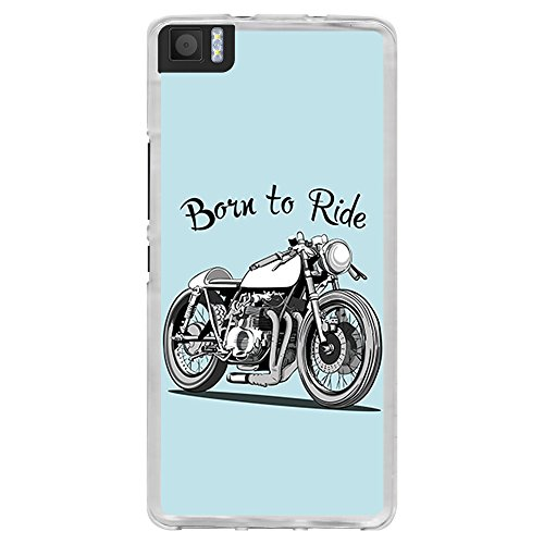 BJJ SHOP Transparente Hülle für [ BQ Aquaris M 4.5 / A 4.5 ], Flexible Silikonhülle, Design: Motorrad Klassiker Caferacer, Born to Ride
