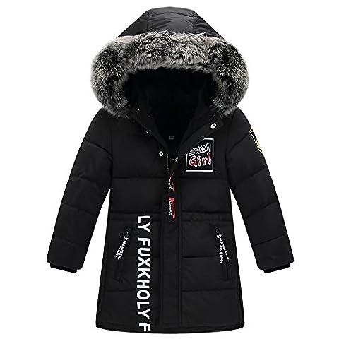 LSERVER Garçon Manteau D'hiver Doudoune Neige Veste Capuche Fourrure Poches Enfant Zip Jacket Parka Outdoor, Noir, 7-8 ans / 130