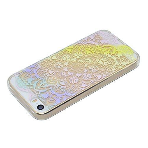 3 Pack Schutzhülle für iPhone 5S, Rosa Schleife Ultra Dünn Soft TPU Silikon Hülle Backcover Case für iPhone SE / 5S / 5 Transparent Handyhülle Bunte Muster Cover Regenbogen