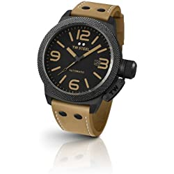 TW Steel Canteen Unisex Automatic Watch with Black Dial Analogue Display and Beige Leather Strap TWA202