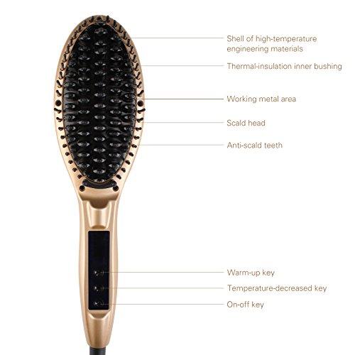 Glättbürste, Minkle Professionaler Haarglätter für lange Haare pflegen, Golden -