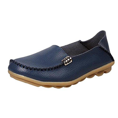 Heheja Damen Freizeit Flache Schuhe Low-top Mokassin Loafers Fahren Schuhe Dunkel Blau