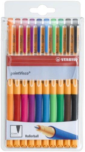 Tintenroller - STABILO point Visco - 10er Pack - mit 10 verschiedenen Farben