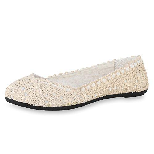 SCARPE VITA Damen Ballerinas Spitze Flats Slipper Feminine Schuhe 160490 Creme Spitze 36 -