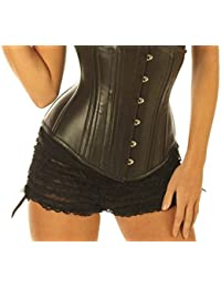 f83f4461c11 Leatherotics Black Leather Under Bust Victorian Corset Cupless Mystic Steel  Boned Top 8380