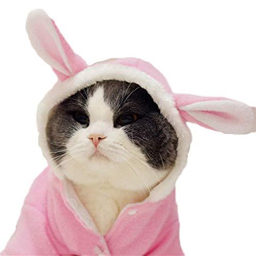 DELIFUR Hundekostüm für Halloween, Kaninchen, Winter, mit Kapuze, weiches Fleece, für kleine Hunde, Welpen, Katzen, ()