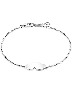 Thomas Sabo Damen-Armband Glam & Soul Herz 925 Sterling Silber Länge von 16.5 bis 19.5 cm A1393-001-12-L19,5v