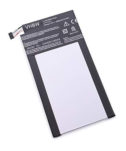 vhbw Batterie 4900mAh (3.75V) pour Netbook Tablette ASUS K00F, Me102, Me102a, Memo Pad Me102, Memo Pad Me102a. Remplace: C11P1314.