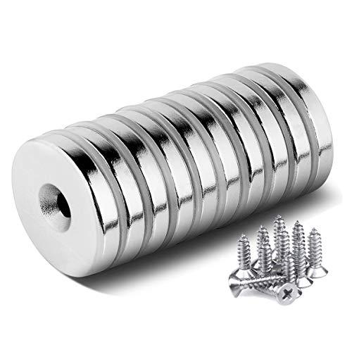 10 Stück Neodym Disc Senkkopf Loch Magnete, Stark Permanent Rare Earth Magnet mit 10 Schrauben für Handwerk
