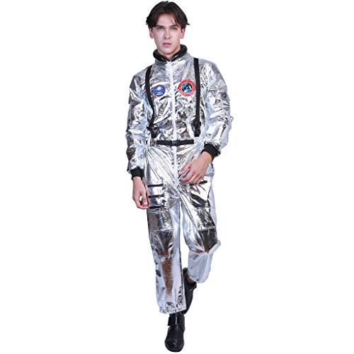 EraSpooky Herren Astronaut Kostüm Weltall Raumfahrer Anzug Spaceman Overall - Space Kostüm Für Erwachsene