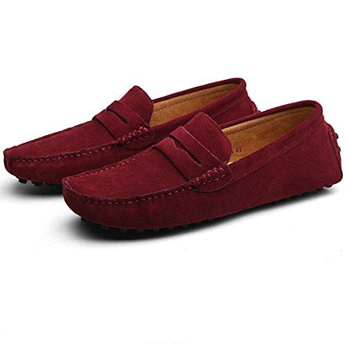 Hishoes Mocassins Suedé Hommes Loafers Conduite Flâneurs Classic Chaussures de Ville Bateau Vin rouge
