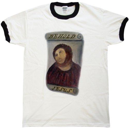 Hombre Behold Jesus Fresco Camiseta - Ecce Homo Restoration - Black - XX-Large