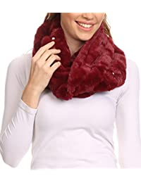 Sakkas Sabby Long Thin Faux Fur Pearl Embellishment Warm Soft Infinity Scarf