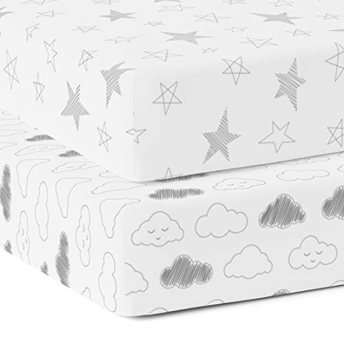 The White Cradle 100% Organic Cotton Crib Fitted Sheets for Baby - 300 Thread Twill Hypoallergenic and Soft Breathable Fabric, Pack of 2 - Star & Clouds