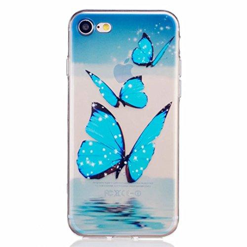 MUTOUREN für iPhone 7 (4.7 Zoll) Transparent TPU Silikon Schutz Handy Hülle Case Cover [Kratzfeste, Scratch-Resistant] Hülle Schutzhülle Crystal Kirstall Durchsichtig Fall-Abdeckung Etui TPU Bumper Schale - Blau Schmetterling