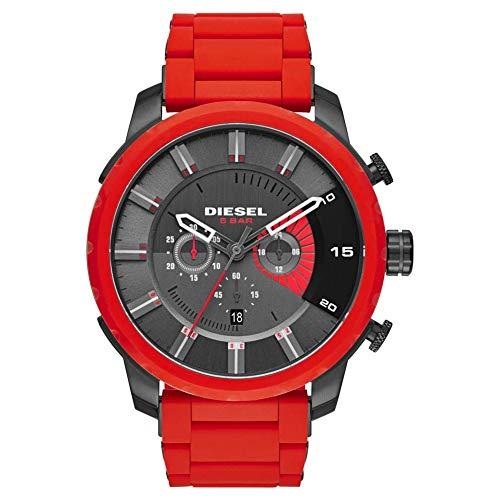 Diesel Herren-Armbanduhr Analog Quarz mit grauem Zifferblatt und rotem Silikonarmband DZ4384