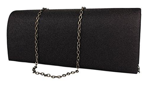 Damen Handtasche / Clutch / Brauttasche / Abendtasche mit Strass verziert in schwarz / rot / silbergrau / golbraun �?schwarz ZL357
