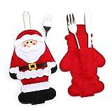 DAILYG Santa Besteck Tasche Schöne Weihnachten Weihnachtsmann Schneemann Hirsch Besteck Abdeckung für Messer Gabel Löffel Halter Weihnachtsmann