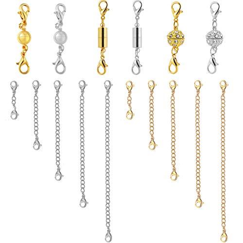 Netspower Verlängerung Kette, 16 Stück Edelstahl Halskette Extender Kette Armband Magnetische Schmuck Verschlüsse Magnetverschluss Karabinerverschlüsse für Halskette, 8 Größen
