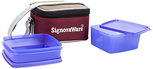 Signoraware Quick Carry Plastic Lunch Box with Bag, Deep Violet