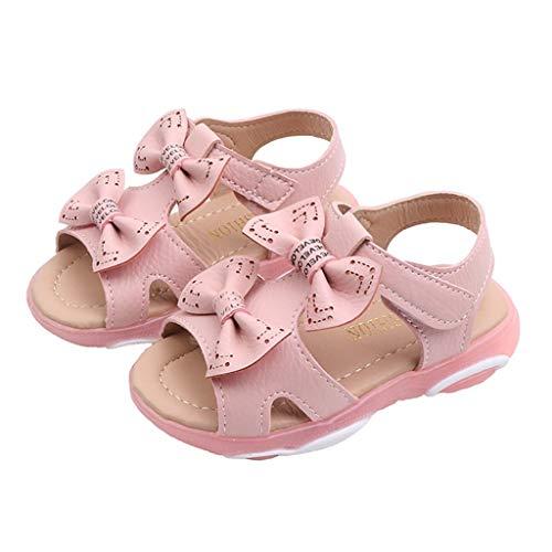 Q2 Multi-set (koperras Kinder Mädchen Bogen niedlichen weichen Boden Strand Sandalen Beleuchtung Schuhe Klett Anti-Rutsch-Temperament Einfarbig Komfort)