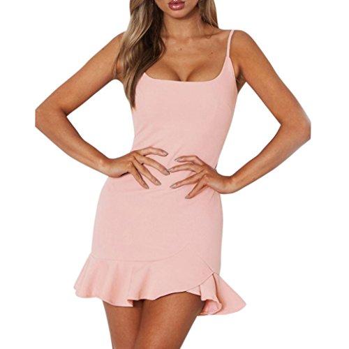 UFACE Dame Off Schulter Sleeveless Minikleid Ruffle Unregelmäßiges Kleid Partykleider...