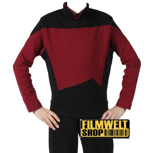 Star Trek Next Generation Uniform - Oberteil super deluxe Baumwolle (X-Large, - Star Trek Next Generation Kostüm Rot