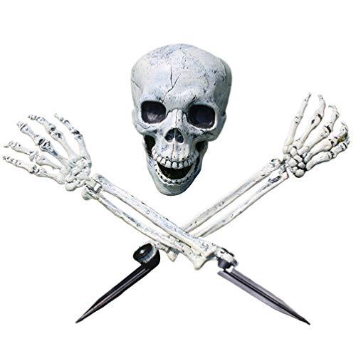 SUPVOX Halloween Skelett Dekorationen Schädel Kopf Hand Knochen beängstigend Spukhaus Requisiten Halloween Hof Rasen Dekorationen Ornamente