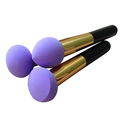 3 Unterschiedliche Form Prosch?nheits Flawless Makeup Blender Foundation Puff Schw?mme kosmetisches Werkzeug, Lila - 3