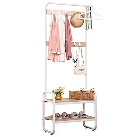 Renzhongren Entryway Storage Bench Coat Rack with 6 Hooks and 2-Tier Shelves White Finish,YJG73182-2WH