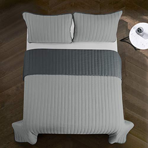 Pop Shop Rita Solid Reversible Lightweight Quilt Set, Twin, Light Grey