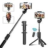 Cocoda Bastone Selfie, Selfie Stick Bluetooth con Ricaricabile Remote Shutter, Estendibile Asta per Selfie Monopiede, 360° Rotazione Treppiede Telefono per iPhone XS/XS Max/XR/X/8, Altro Smartphone