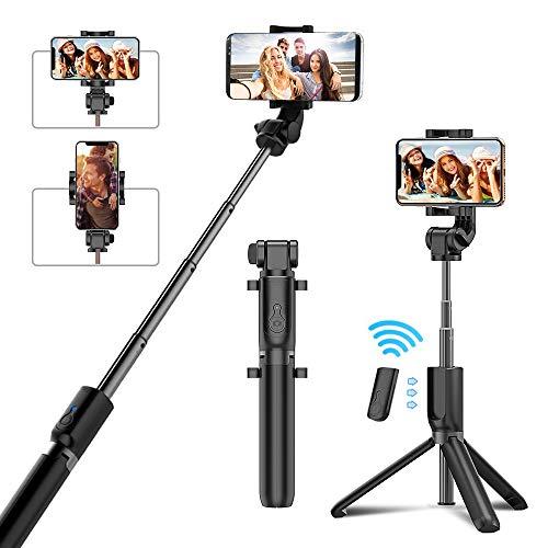 Cocoda Perche Selfie, Bluetooth Selfie Stick Trépied avec Télécommande Rechargeable, 360° Rotation Support de Téléphone Monopode Universel pour Téléphone Portable (Noir)