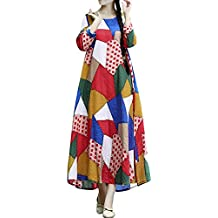 Robe Hiver Femme Chic Longue Carreaux Vichy Impression ChampêTre Balloon Jupe  Cloche 6253f51d6e7f