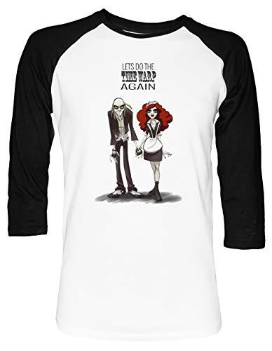 TIME WARP - Magenta Unisex Baseball T-Shirt 2/3 Ärmel Herren Damen Weiß Schwarz (Horror Aus Magenta Rocky Der)
