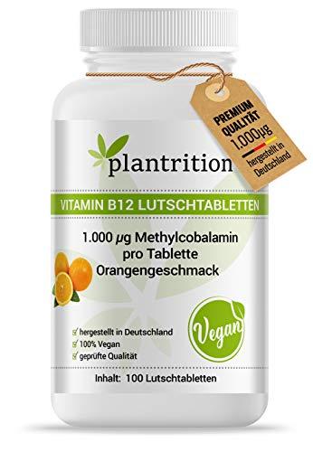 plantrition Vitamin B12 1000 µg Methylcobalamin 100 Vegane Lutschtabletten hochdosiert Orangengeschmack - Qualitätsprodukt hergestellt in Deutschland (NEUER GESCHMACK & BESSERE LÖSLICHKEIT)