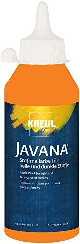 Kreul 91458 - Javana Stoffmalfarbe für helle und dunkle Stoffe, brillante Farbe mit pastosem Charakter, 250 ml Flasche, orange