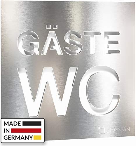 INOXSIGN Edelstahl Gäste WC-Schild - selbstklebend & pflegeleicht - Design Toiletten-Schild - W.08.E